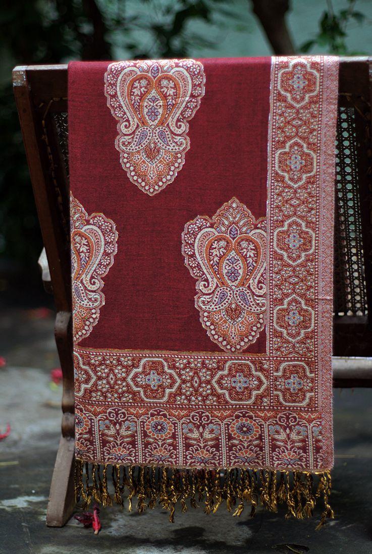 Бордовый индийский палантин (отправка из Индии)