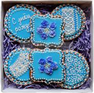 """Имбирные пряники ручной работы в наборах """"Голубые розы"""" в подарок"""
