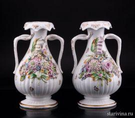 Две вазы с цветочным орнаментом, Coalport, Англия, кон.19 - нач. 20 в