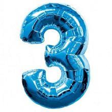 """Фигура """"3""""  (40""""/102 см) синий"""