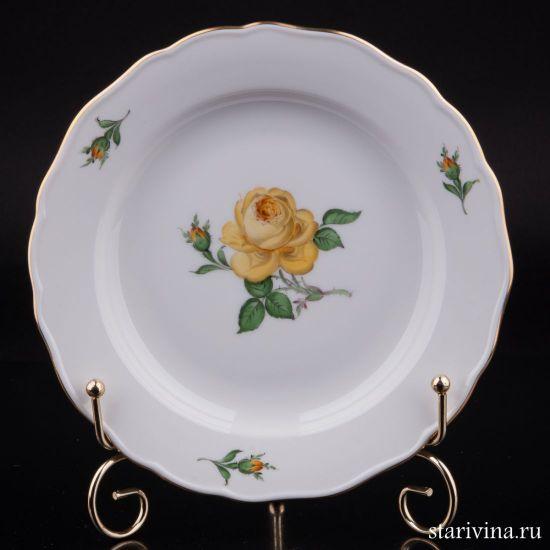 Тарелка Желтая Роза, Meissen, Германия, вт. пол. 20 в.