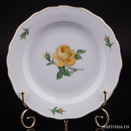 Тарелка Желтая Роза, Meissen, Германия, вт. пол. 20 в
