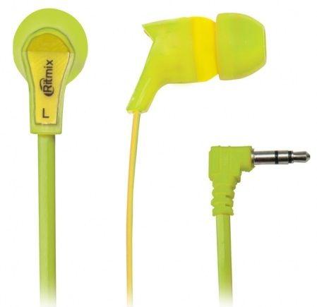 Наушники вакуумные Ritmix rh-013 green+yellow