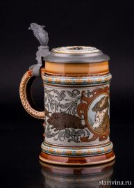 Пивная кружка Охота на кабана, 1/2 л, Mettlach, Германия, 1901 г