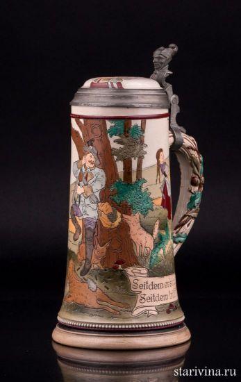 Антикварная старинная Редкая немецкая пивная кружка, 0,5 л, Marzi & Remy, Германия, ок. 1900 г