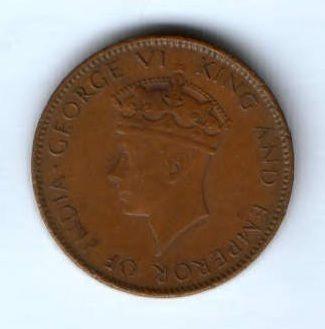 1 цент 1942 г.  Цейлон
