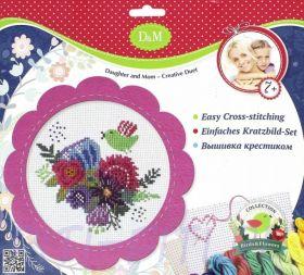 """D&M Делай с мамой. Набор для вышивания крестиком  """"Цветы и птицы"""" в  розовой рамке"""