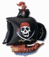 """Пиратский корабль чёрный, 14""""/ 36 см"""