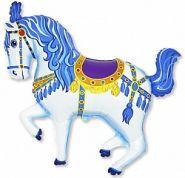 """Лошадь карусельная синий, 14""""/ 36 см"""