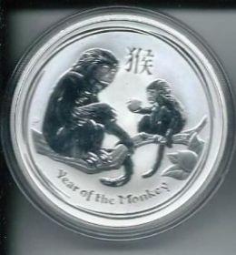 Год Обезьяны 1 австралийский доллар  Австралия  2016 серебро, 1 унция