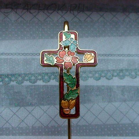 Закладка для Библии под золото/клуазоне/красная