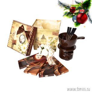 """Подарок с фондю """"Шелковый шоколад"""""""