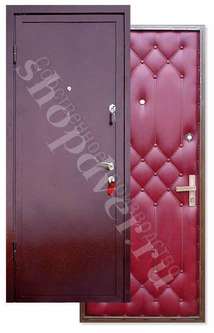 Металлические двери порошковый окрас c броне полосой+ дутая (винилискожа)