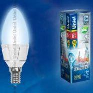Светодиодная лампа Uniel LED-C37-6W/WW/E14/FR ALP01WH