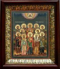 Собор 12 целителей (19х22), темный киот