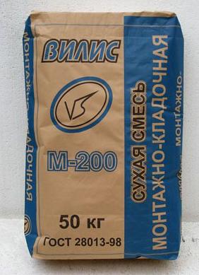 Монтажно-кладочная смесь «Вилис» М-200 (50 кг)