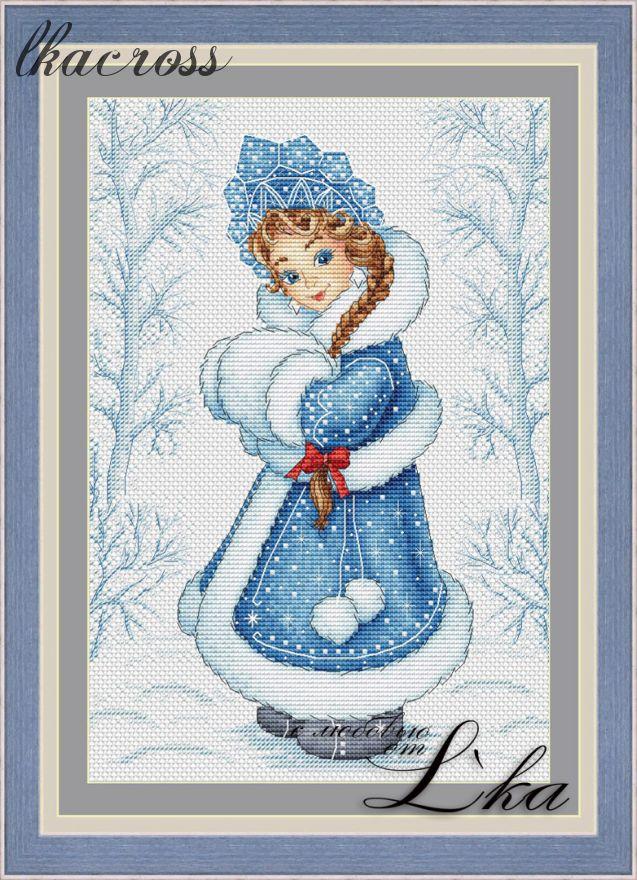 """""""Снегурочка"""". Схема/набор для вышивания крестиком."""