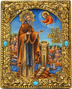"""Икона именная """"Даниил Столпник"""" 19 х 23 см, роспись по дереву, позолота, самоцветы"""