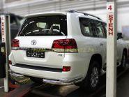 Защита заднего бампера уголки двойные 76х53 мм для Toyota Land Cruiser 200 2015 -