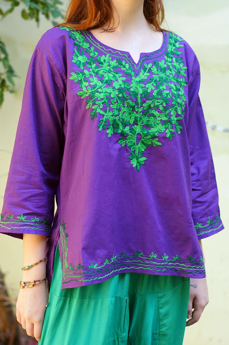 Женская индийская рубашка с вышивкой (отправка из Индии)