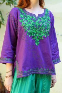 Женская индийская рубашка с вышивкой, L