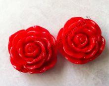 кабошон роза 18мм красная