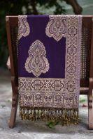 Индийский палантин их хлопка, фиолетовый, с турецкими огурцами, Москва
