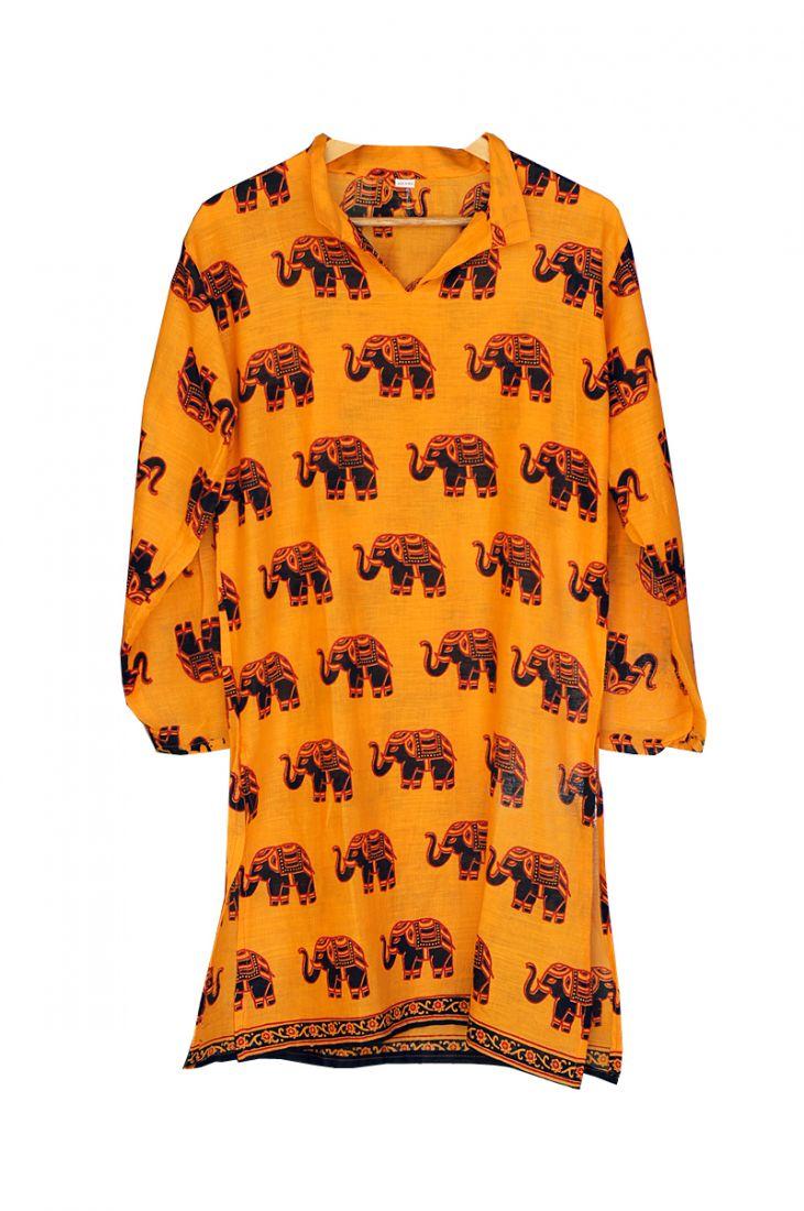 Индийская курта унисекс со слонами (Москва)