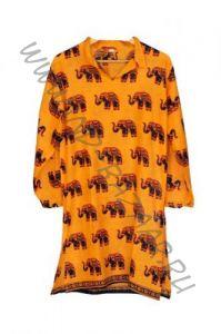 ЖЕЛТО-ОРАНЖЕВАЯ индийская курта со слонами (в Екатеринбурге)