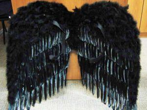 Крылья перьевые 92 см черные