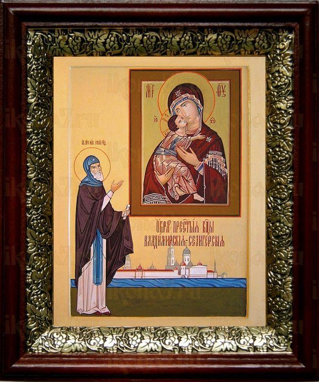 Владимирская Селигерская икона БМ (19х22), темный киот