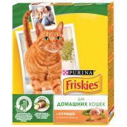 Friskies Сухой корм для домашних кошек Курица и садовая зелень (300 г)