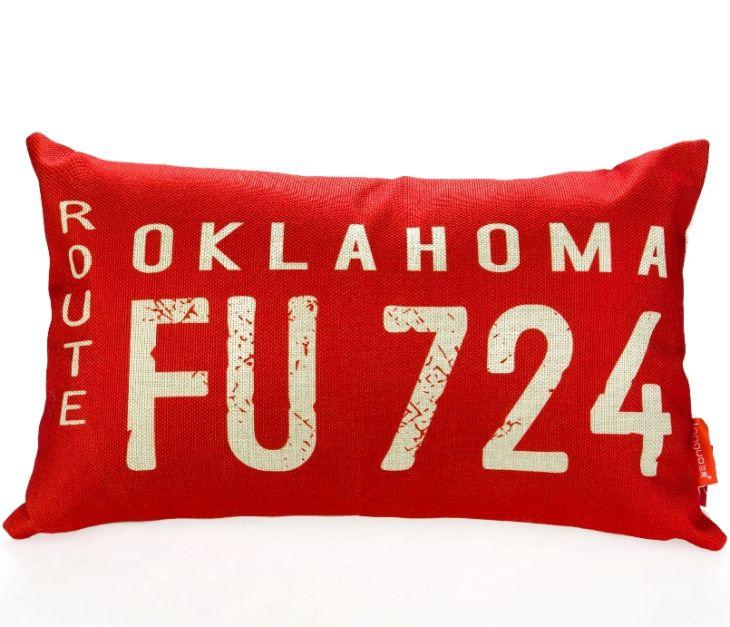 Декоративная подушка «Car Number» - Oklahoma