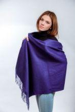 Роскошная классическая шотландская  шаль, высокая плотность, 100 % драгоценный кашемир , расцветка Королевский Фиолетовый Royal Purple(премиум)
