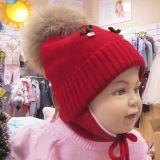 детская шапочка теплая зимняя красная