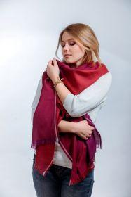 шотландский тонкий широкий легкий шарф 100% шерсть мериноса  , Малиновый ,Вишневый, Пурпурный, плотность 3