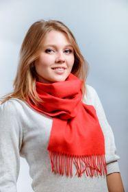 однотонный кашемировый шарф (100% драгоценный кашемир), классический алый цвет, высокая плотность 7