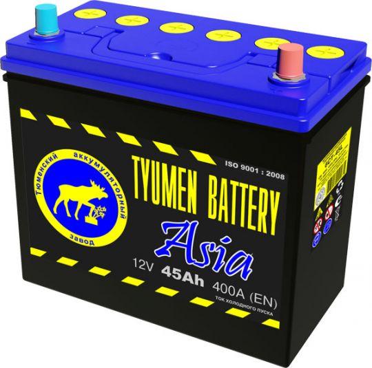 Автомобильный аккумулятор АКБ Тюмень (TYUMEN BATTERY) ASIA 6CT-45L 45Aч O.П.