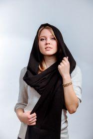 Шотландская легкая шаль, 100 % драгоценный кашемир , Классическая черная расцветка  , плотность 4