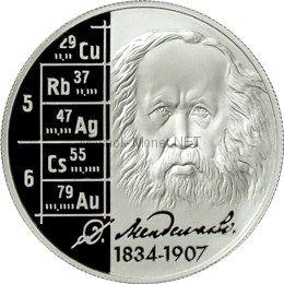2 рубля 2009 г. Учёный-энциклопедист Д.И. Менделеев