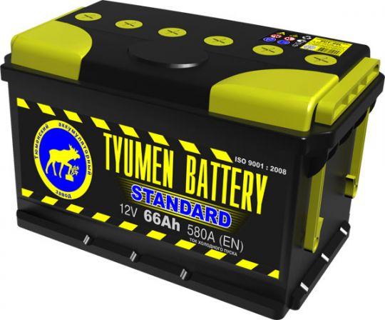 Автомобильный аккумулятор АКБ Тюмень (TYUMEN BATTERY) STANDARD 6CT-66L 66Aч О.П. (низкий)