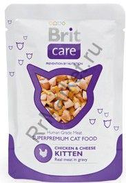 Консервы для котят Brit Pouch Chicken & Cheese Kitten Курица с сыром 80 г.