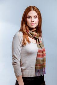 клетчатый кашемировый тёплый шарф (100% драгоценный кашемир) , расцветка шотландской деревушки Балбег Balbeg tartan, плотность 7