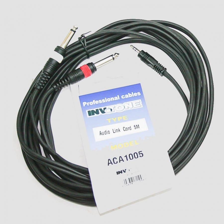 INVOTONE ACA 1005 Аудио кабель, стерео джек 3,5- 2-х моно джек 6,3 длина 5м