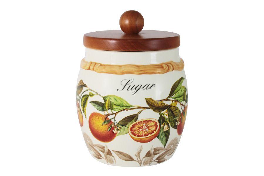"""Банка для сыпучих продуктов с деревянной крышкой (сахар) """"Апельсины"""", 0.75 л"""