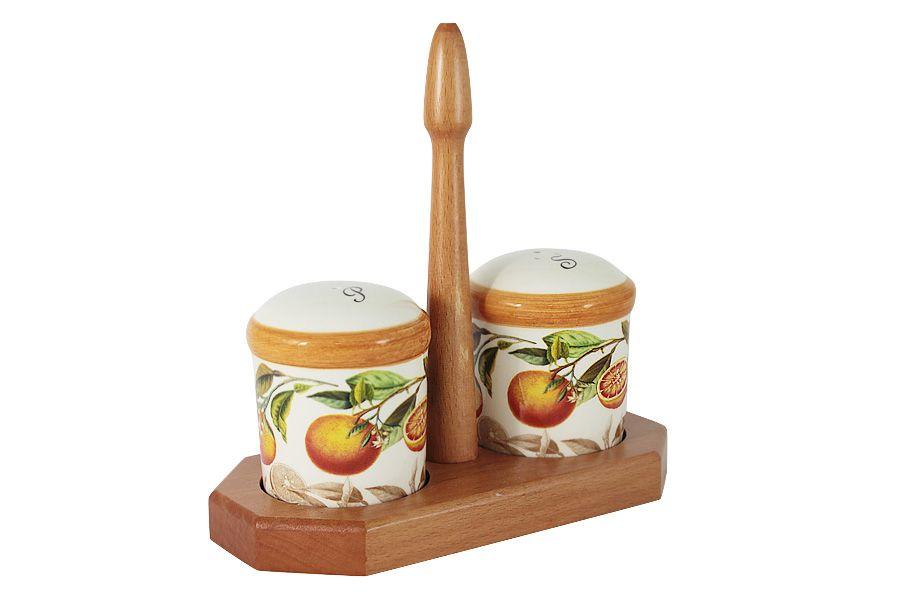"""Набор для специй: солонка и перечница на подставке """"Апельсины"""""""