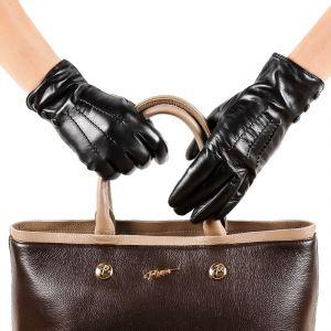 Перчатки женские 29К_40045_10_П; кожа; черный (Размер 6,5)
