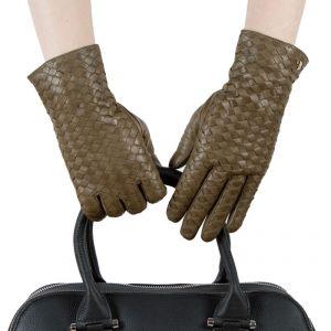 Перчатки женские 29К_40039_10_1309П; кожа; хаки (Размер 6,5)