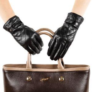 Перчатки женские 29К_40059_10_П; кожа; черный (Размер 6,5)
