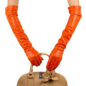 Перчатки женские 29К_40067_10_П; кожа; оранжевый (Размер 7,5)